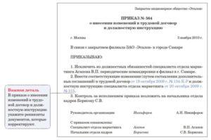 Дополнение в должностную инструкцию образец
