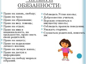 Права и обязанности ребенка в семье проект