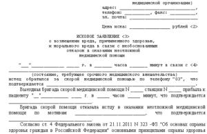 Исовое заявление в суд на врачей за халатность и бездействие