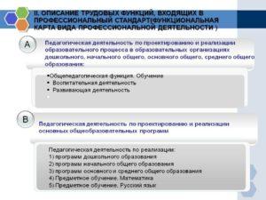 В профстандарте педагога описаны следующие трудовые функции