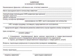 Заявка на проведение экспертизы в магазине образец