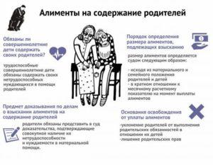 Взыскание алиментов на содержание родителей если родитель не пенсионер