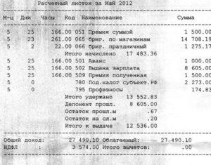 Код 2013 в расчетном листе расшифровка