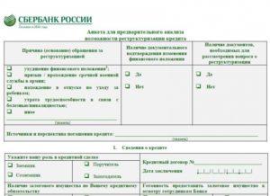 Анкета по реструктуризации кредита тайота банк образец заполнения