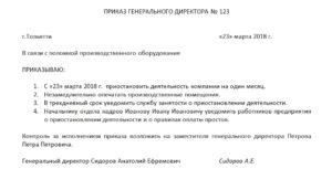 Письмо министру о приостановлении деятельности