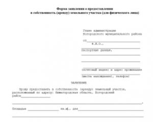 Заявление об аренде муниципального земельного участка