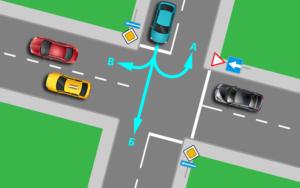 Разворот на перекрестке с односторонним движением с двумя пересечениями