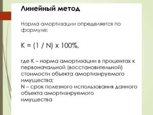 Линейный метод амортизации формула