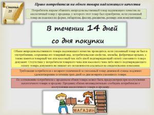 Статья закон о возврате товара в 14 дневный срок