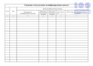 Ведение журнала прихода и расходования дезинфицирующих средств
