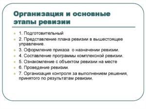 Организация проведения ревизий порядок оформления результатов ревизии