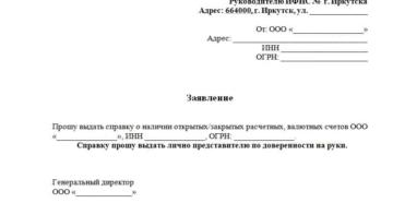 Справка об открытых счетах образец запроса